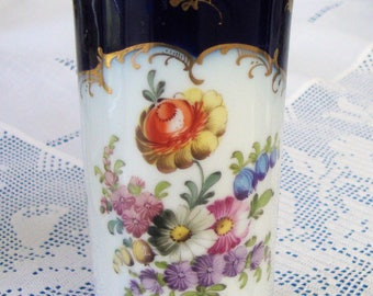 Antique DRESDEN VASE circa 1900 Hand Gilded And Painted