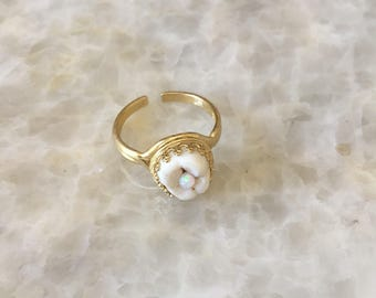 Human Tooth Opal Ring