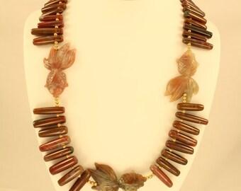 Carnelian Goldfish Necklace