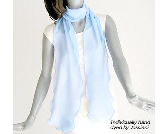 "Light Periwinkle Blue Skinny Scarf, Hyacinth Light Blue Powder Pure Silk Chiffon, Unique Hand Dyed, Petite XS S M 8""x76'', Ready to Ship."