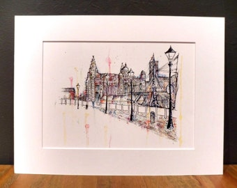 Albert Dock print - Albert Dock painting - Grace Emily Art - Liverpool waterfront - Grace Emily - Gifts for scousers - Liverpool gift