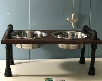 industrial style dog bowl stand   steampunk style   raised dog bowl stand