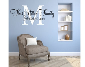 Personalized Wall Decal Family Name and Date Decal Vinyl Wall Decal Family Monogram Decal Living Room Wall Decal Housewares Personalized