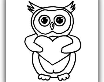 Owl Stamp Plus Clipart, Digital Stamps, Heart Stamps, Digi Stamps Hearts, Valentine Heart Stamp, Instant Download, Line Drawing, Clipart