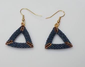 Fashion Earrings, Beaded Earrings, Party Jewelry, Statement Earrings, Dangle Earrings, Geometric Earrings, Beaded Jewelry, Blue Earrings