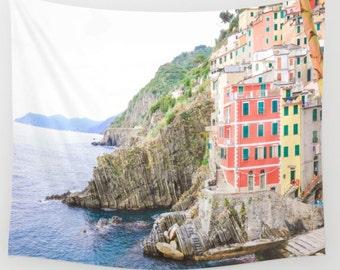 Riomaggiore Italy Wall Tapestry, Riomaggiore Wall Art, Photo Tapestry, Travel Art, Living Room Wall Art, Cinque Terre, Dorm