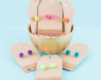 Pom Pom post earrings, neon