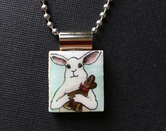 Bunny jewelry, chocolate bunny pendant, handmade bunny jewelry, rabbit necklace, Handmade Easter gift, bunny pendant, recycled scrabble tile