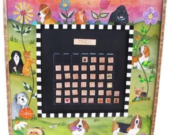 CUSTOM PERPETUAL CALENDAR, Everlasting calendar, personalized gifts, pet lovers gift, calendar, magnetic calendar, farmhouse decor,