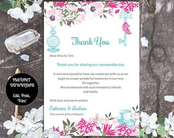 """THANK YOU Cards   Printable Template   Alice in Wonderland   Instant Download   EDITABLE Text   Purples Pinks Teal   Word   Pc & Mac   7""""x5"""""""