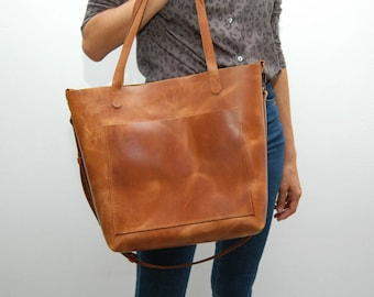 Leather tote bag ,large size,london tan color