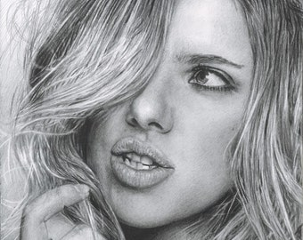 Drawing Print of Scarlett Johansson (Black Widow from Avengers / Captain America)