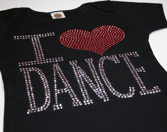 I (HEART) DANCE rhinestud  tee by Daisy Creek Designs