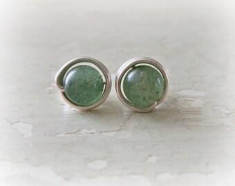 Aventurine Stud Earrings, Sterling Stud Earrings, Hypoallergenic, Sterling Studs, Green Stud Earrings, Stone Studs, Aventurine Earrings