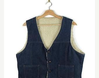 ON SALE Vintage Denim Shearling / Sherpa Vest