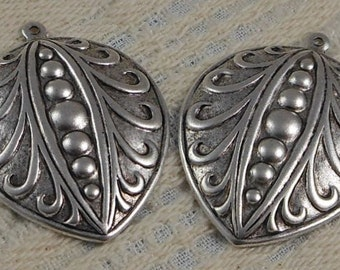LuxeOrnaments Sterling Silver Plated Brass Filigree Stamping Leaf Pendant  (2pcs) 40x30mm S-8558-S