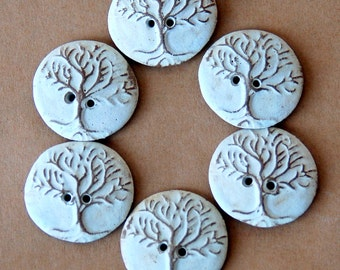 6 Handmade Ceramic Buttons - Tree of Life buttons in Neutral Stoneware - Perfect for Button Bracelets - Handmade Knitting Supplies