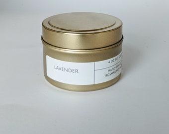 Lavender 4 oz Gold Tin Candle
