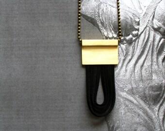Brass Leather Necklace-Modern Pendant Necklace-Greek Modern Jewelry-Brass Cord Necklace-Contemporary Necklace-Long Brass Necklace