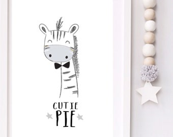 Cutie Pie Modern Monochrome Zebra Nursery typography print