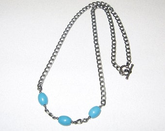 Turquoise and Gunmetal Chain Necklace