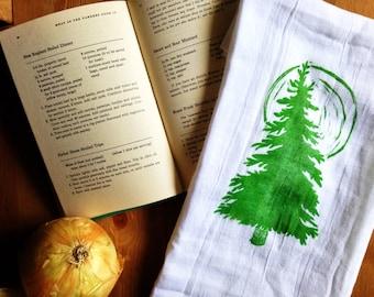 wood block print pine tree and moon tea towel by color.joy