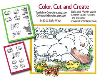Dog with Ducklings - Color, Cut, and Create - Printable PDF