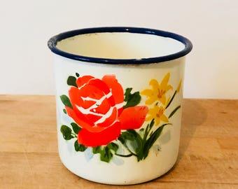 Vintage Enamel Floral Mug