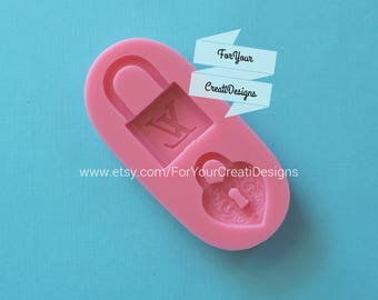 Fashion and fancy padlock silicone mold, 2 cavities. For chocolate, fondant, clay, resin