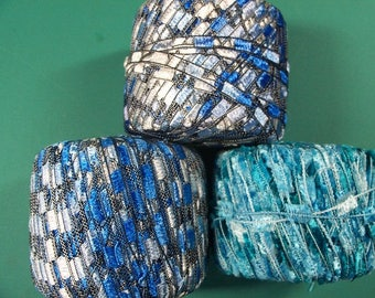 Lot of Blue Ladder/Novelty Yarn, - FREE SHIPPING