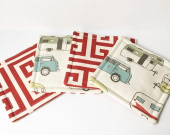 Red Coasters RV Camper Fabric Reversible Coasters Fabric Coasters Cotton Set of 4 Modern Home Decor