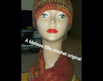 Fabulous in Fall crochet hat and infinity scarf set