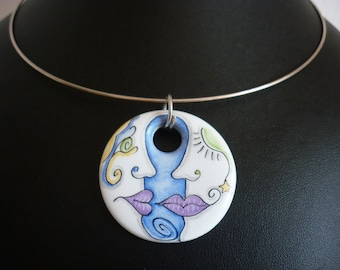 Necklace Moon or the other HANDPAINTED ceramic