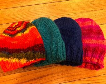 Handknit chunky winter beanie hats