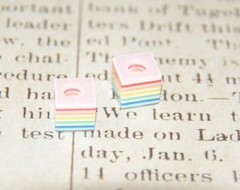 4 multicoloured striped acrylic 10x10x8mm Pandora beads