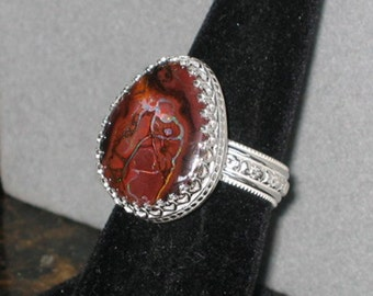 Koroit Boulder Opal Sterling Silver Ring, Size 8