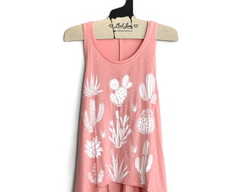 Large- Peach Scoop Neck Slub Festival Tank Large Armholes  with Cactus Screen Print
