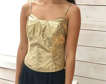 metallic bustier / gold taffeta / s - m