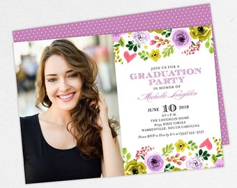 Graduation Invitation, Photo Graduation Invitation, Graduation Announcement, Printable, PDF, Watercolor, Flowers, Purple, Yellow, Michelle