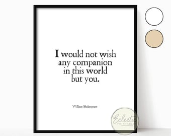 Love Quote Printable, Romantic Quote Print, Shakespeare Quote, Printable Wall Art, Gift for Him, Gift for Her, Valentine's Day Gift