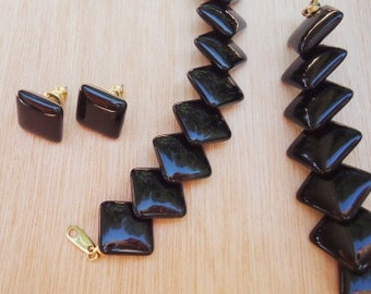 TRIFARI Necklace and Earrings Set of Black Square Beads - On SALE!