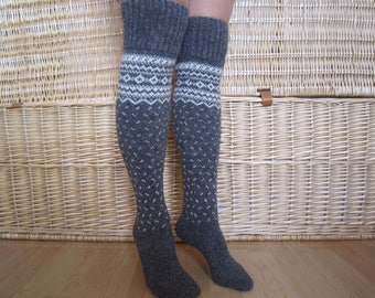 Grey wool long socks, Norwegian wool knee socks, Winter knit knee socks, Womens  long wool socks, Christmas gift
