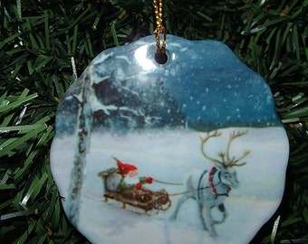 Ceramic Scalloped Edge Ornament - Swedish Tomte with Reindeer #242