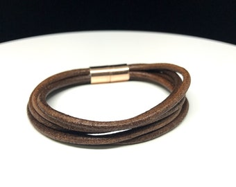 Multistrand leather bracelet with magnetic clasp, distressed dark brown genuine leather bracelet