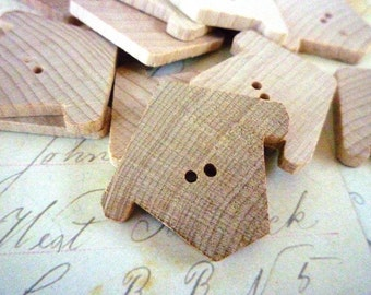 CLEARANCE Birdhouse Shaped Wooden Buttons - Chickadee Chalet - Pack of 10