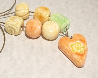 Ceramic Look Polymer Clay Heart with Flower Focal Set of Loose Beads
