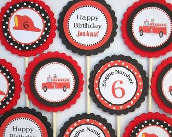 FIRE ENGINE CUPCAKE Toppers / Fire Truck Cupcake Toppers/ Set of 12/ Personalized Red and Black Boys Party / Matching Items Available