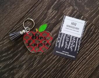 Teacher Gift- Teacher Gift- Teacher Apple Keychain- Teacher Appreciation- Personalized Teacher Gift.