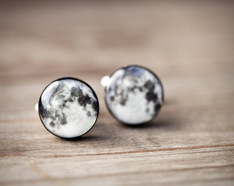 Full moon cufflinks, Fathers day gift, Space Cufflinks, Planet cufflinks, Gift for husband, Space gift for him, Science gift for men