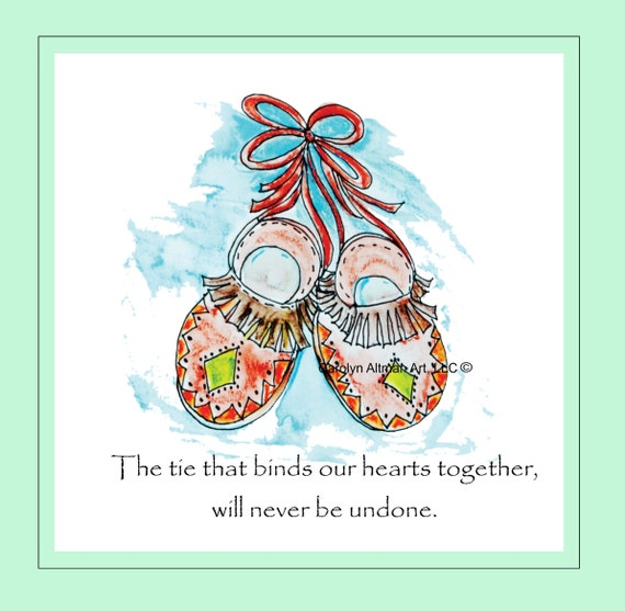 Aztec Moccasins Art Print | The Ties That Bind Wall Hanging Indian Art